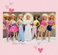 Barbie Doll Lot! 7 Mattel Vintage Fashion Dolls ~ Cute Clothes! Blonde/Brunette