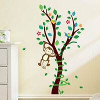 Monkey Birds Tree Wall Sticker Removable DIY Decals Kids Boys Girls Room Nursery
