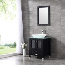 "24"" Bathroom Vanity Cabinet Ceramic Vessel Sink Faucet Mirror Combo Single Top"