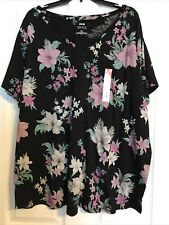 Evri Everyday Tee Womens Plus 3x Floral Print Long Sleeves Top