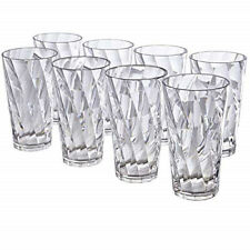 8ct Clear Tumbler Drinking Glass Ice Tea Juice Water Cup Clear Acrylic Plastic