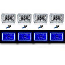 "4X6"" Blue LED COB Halo Crystal Glass/Metal Headlight Light Bulb Headlamp Set"