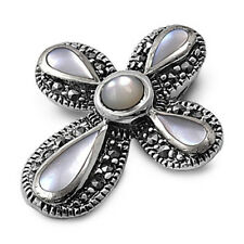 Marcasite Cross with Mother of Pearl Pendant Sterling Silver Religious Symbols