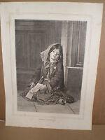 Gravure 19° La petite cigale W Thomas( chanteuse des rues mendiantes )