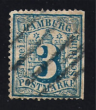 HAMBURG STAMP #17 --  3s NUMERAL --1864 -- USED