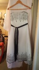VINTAGE ? WEDDING BRIDESMAID PROM DRESS STRAPLESS F&F WHITE/BLACK NETTED TYPE 34