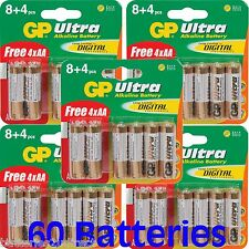 60 Gp Ultra Pilas AA MN1500 LR6 LR6 1.5V alcalina de alto rendimiento 5 X 12pk