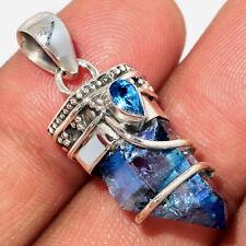 Aqua Aura Quartz - USA Point & Blue Topaz 925 Silver Pendant AP177252 253M