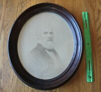 "Wooden Picture Frame Oval Antique 15"" wall art with Old Photograph Bearded man"