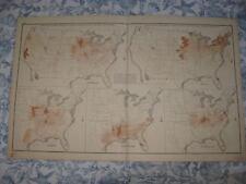 ANTIQUE 1874 UNITED STATES AGRICULTURE MAP TOBACCO COTTON CENSUS DISEASE TEXAS