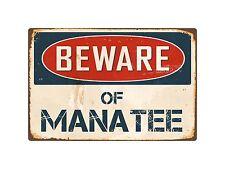 "Beware Of Manatee 8"" x 12"" Vintage Aluminum Retro Metal Sign Vs269"