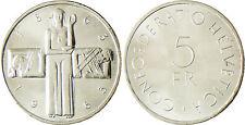 SUISSE  ,  5  FRANCS   ARGENT  CROIX  ROUGE  1963 B  ,  SUPERBE  À FLEUR DE COIN