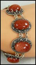 Beautiful Vintage Egyptian Goldstone Cabochon Bracelet Set in 800 Silver