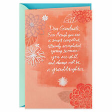 """Graduate Graduation Card FOR """"GRANDDAUGHTER""""  by HALLMARK ~ Flowers on coral"""