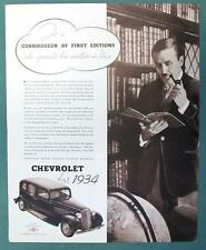 Original 1934 Chevrolet Master 6 Sedan Ad CONNOISSEUR OF FIRST EDITIONS