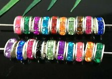Wholesale 50Pcs/100Pcs 15Color Silver Plated Crystal Spacer Beads 8mm