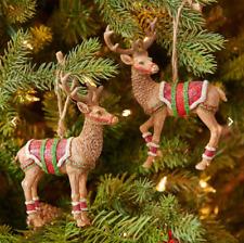 "RAZ Imports 5.5"" Christmas Deer Ornament~Set of 2~Reindeer Figurine - 3707031"