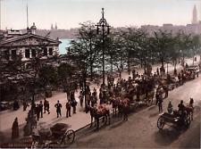 Deutschland, Hamburg. Am Jungfernstieg um 10 Uhr morgens. vintage print photoc