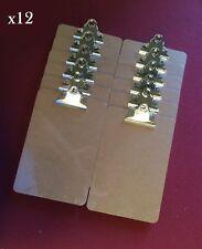 12 x Wooden A5 Clipboard Hardboard With Chrome Clip Small Menu Board 250x170mm