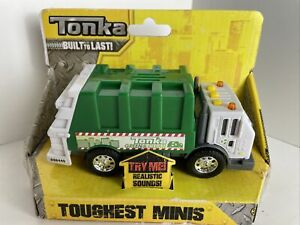 Tonka Toughest Minis Trash Recycle Truck Lights Sounds Green Clean New!
