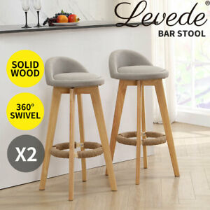 2x Bar Stools Swivel Stool Kitchen Wooden Chairs Fabric Barstools Sage