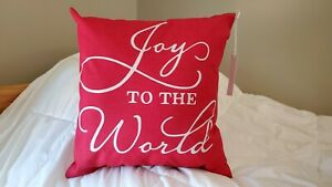 Joy to the World Red/White Decorative Christmas Pillow