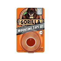 Gorilla CLEAR Heavy Duty Mounting Tape 25.4mm x 1.5m Complete with Free Delivery