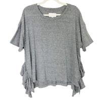 Current Elliott Tee Womens Size Large Gray Ruffle Top T Shirt
