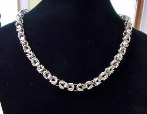 """925 Sterling Silver Byzantine Chain Necklace 17"""" - 37.95 Grams - 7mm"""