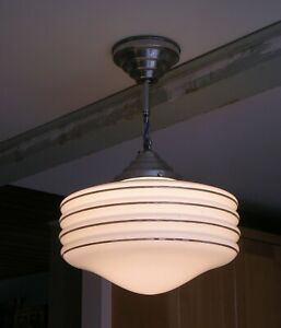 1933 CHICAGO STORE CEILING LIGHT PENDANT PLANET SATURN FIXTURE W/ BANDS & NIPPLE