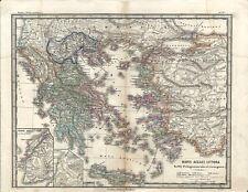 Carta geografica antica GRECIA MARE EGEO ASIA MINORE Greece 1866 Old antique map