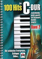 Keyboard Klavier Noten : 100 Hits in C-Dur 2 - Schlager Evergreens  - B-WARE
