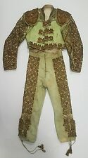 Antique Vintage Bullfighter Toreador Torero Matador green & gold suit of lights