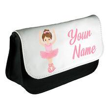 Personalised Girls Ballet Pencil Case Make Up Bag School Kids Custom New