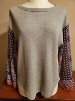 SUNDANCE women's top shirt size S gray waffle knit with long contrast sleeves