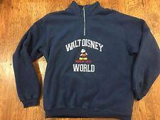Walt Disney World Mickey Mouse BLUE Fleece 1/4 Zip Jacket Unisex Large Pullover