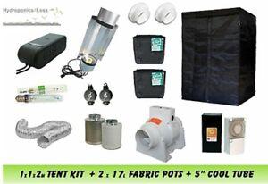 Complete Hydroponic Grow Room Tent Fan Filter Cool Tube Light Kit 400w 1x1x2m