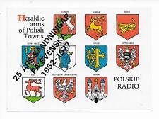 QSL Radio Poland 1977 Polskie Warsaw Warszawa 25 years Lublin Opole Heraldic DX