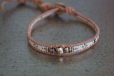 NEW Chan Luu White Seed Bead Gold Vermeil Tan Leather Wrap Bracelet