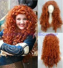 Curly Wavy Costume Wig Brave Merida Orange Hair Vogue Cosplay Party Long Wig