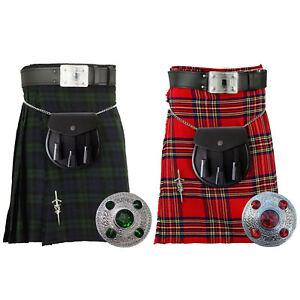 SL Scottish Men's Kilt Traditional Highland Dress Skirt/Kilt Pin Brooch/Sporran