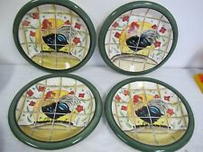 ROOSTER PLATES CERAMIC HAND PAINTED SET OF 4 GREEN BANDS