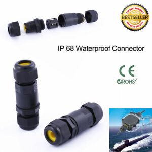 IP68 Waterproof Electrical Cable Wire 2/3 Pin Connector Outdoor Plug Socket AU