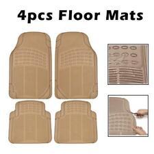 4PCS Car Floor Mats for All Weather Semi Custom Heavy Duty Trimmable Tan Beige