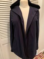 Eileen Fisher Navy Cotton Open Front Cardigan With Hood Size Small With Pockets