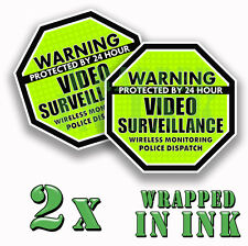 Warning 24 hour Video Surveillance Security Stickers GREEN OCT. Decal 2 PACK