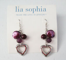 Lia Sophia Jewelry Purple Heart Earrings in Silver Light Weight