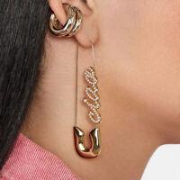 Damen Perle Büroklammer Ohrringe Mode Sicherheitsnadeln Ohrstecker AlloyCharmJe