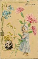 Girl and Huge Flowers Art Nouveau Bonne Fete Postcard – udb (pre 1908)