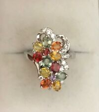 14k Solid White Gold Cluster Flower Ring With Natural Multi Color Sapphire4.99GM